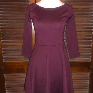 Burgundy Skater Dress with 3/4 Sleeves
